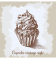 Sweet bakery decorated cupcakes hand drawn in vector image