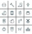 set of 16 garden icons includes bush pot rubber vector image