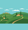 landscape with hills roads and settlements vector image