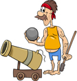 pirate with cannon cartoon vector image