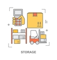 Thin line flat design banner for storage vector image