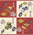 farm vehicles isometric concept vector image