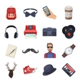 Hipster style set icons in cartoon style Big vector image