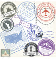 united states travel stamps set - usa journey vector image