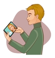 Young man has chat in Internet with a woman vector image