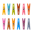 Colorful Pegs Set Isolated on White Backgrou vector image