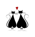 Cat in love black silhouette for your design vector image vector image