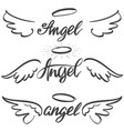 angel wings icon sketch collection religious vector image