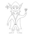 Elf with flower outline vector image
