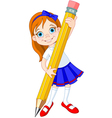 girl pencil vector image