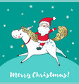 greeting card with cute unicorn and santa claus vector image