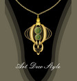 luxurious art deco pendant with green gems emerald vector image