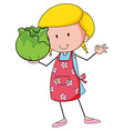 Woman holding head of cabbage vector image