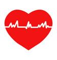 flat trendy heart beat icon with ecg vector image