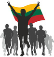 Winner with the Lithuania flag at the finish vector image vector image