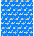 Seamless sea pattern Yellow fish and light blue vector image