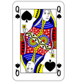 Poker playing card Queen spade vector image