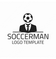 Soccerman logo template vector image vector image