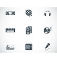 black dj icons set vector image