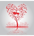 Lovely tree with doves and flowers vector image
