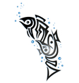 Tribal fish with bubbles vector image