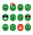 emojis watermelon fruit summer set of vector image