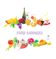 Food banners set cartoon vector image vector image