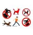 Angry mad dog Beware sign icons set vector image