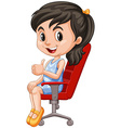 Girl on red chair having thumb up vector image