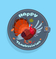 happy thanksgiving day logo autumn traditional vector image