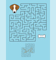 labyrinth maze game with solution help dog vector image