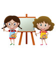 two girls painting on canvas vector image