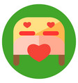 valentine day icons in a flat style on a round vector image