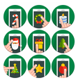 Set flat circle icons christmas vector image vector image