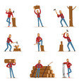 classic american lumberjack in checkered shirt vector image