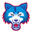 angry wolf head mascot vector image