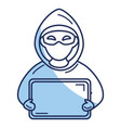 hacker with computer avatar character vector image
