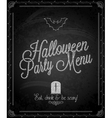 chalkboard halloween party menu vector image vector image