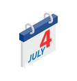 4 July CalendarIndependence Day USA icon vector image