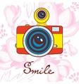 Smile concept card Elegant vintage camera on vector image vector image