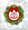 Celebration Card with Christmas Wreath and Balls vector image vector image