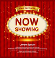 a retro theater sign with a red curtain background vector image