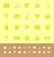Bedroom color icons on yellow background vector image