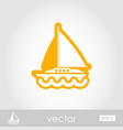 boat with a sail outline icon summer vacation vector image