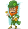 Cartoon leprechaun with gold coin and beer vector image