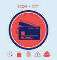 credit card with a chip and magnetic stripe - ico vector image