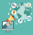 digital marketing online communication media vector image