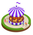 isometric childrens carousel with horses isolated vector image
