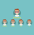 star rating system set of emotional portraits vector image