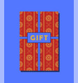 red orange and blue vintage gift card design vector image